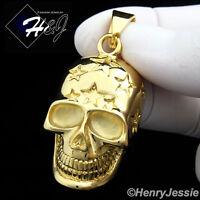 BIKER MEN Stainless Steel Gold Tone Star Skull Heads Charm Pendant*GP84
