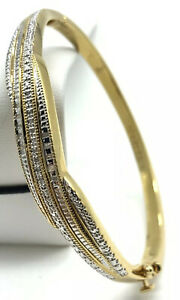 Danbury Mint Bracelet Forever Diamond Bangle Gold Plate Hinged Safety Clasp A6