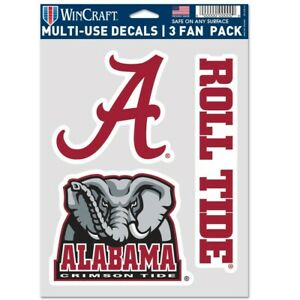 ALABAMA CRIMSON TIDE ROLL TIDE 3-MULTI USE DECALS FAN PACK WINCRAFT 👀