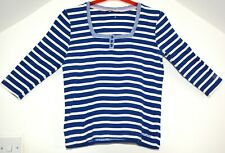 Maine New England Blue Bretton Stripe Cotton Jersey Top size 16 3/4 Sleeve
