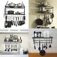 Hanging Iron Rack Storage Kitchen Organizer Pot Pan Holder Wall Shelf + Hooks