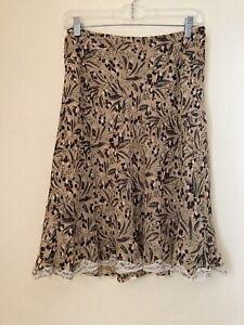 NINE WEST Separates Women's Flared Lined Skirt Black Tan Floral Print SZ 6 Silk
