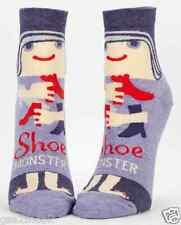 Shoe Monster Ankle Socks Blue-Q New Women's Hosiery Size 9-11 Blue Heather