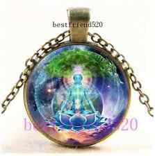 Vintage Ananda Mandala Meditation Cabochon Glass Bronze Pendant Necklace