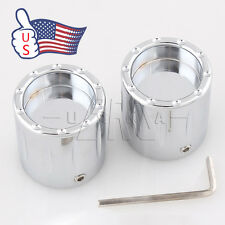 Chrome Deep Edge Cut Front Axle Cover Cap Nut For Harley Touring Softail XL US