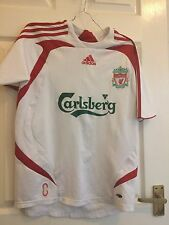 LIVERPOOL FC ADIDAS 2007-08 BOYS 14 YEARS AWAY FOOTBALL SHIRT (EX CONDITION)