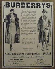Publicité BURBERRYS costumes ville voyage sport  1921, advert