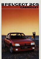 Peugeot 205 Cabriolet Prospekt 1986 Autoprospekt brochure prospectus prospetto