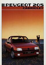 Peugeot 205 Cabriolet Prospekt 1986 Broschüre Autoprospekt brochure prospectus