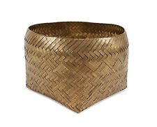 MODERNIST VINTAGE WOVEN BRASS STORAGE BASKET CONTAINER ART METAL VESSEL