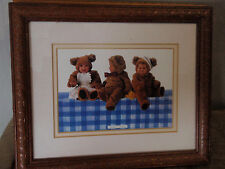 Anne Geddes/ babys 3 /dress up as teddy bears/ on the table/