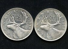 1948 & 1950 Canada 25 Cent Coins (5.83 Grams .800 Silver Each)