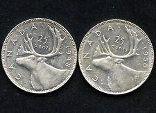 1948 & 1950 Canada 25 Cent Coins (5.83 Grams .800 Silver Each)
