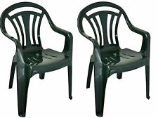 2 x Plastic Low Back Garden Chair Light Weight Home Camping Picnic Fishing Green
