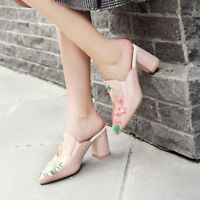 Womens Pointed Toe Mules High Heels Embroidery Floral Sandals Pumps Casual Shoes