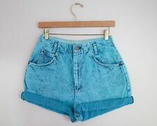 Vintage LEVI'S Blue Dyed Acid Wash High Waisted Cut Offs Cuffed Denim Shorts 28