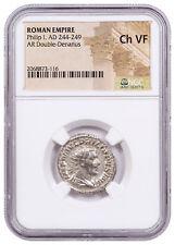AD 244-249 Roman Empire Silver Double-Denarius of Philip I NGC Ch. VF SKU56209