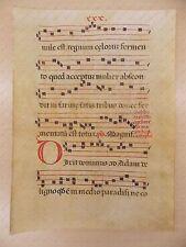 1600 ca ANTIFONARIO ROMANO Pergamena manoscritta rosso nero Salmo DIXIT DOMINUS