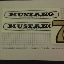 Mustang Mower Mowett Sales Co. Decal Set For 7-hp Rider