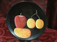 Dominic Republic artesania hand painted pottery plate fruit on black
