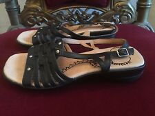 COLORADO BLACK LEATHER SANDALS SIZE 24CM