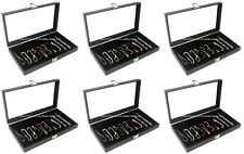Wholesale Lot of 6 Glass Top Black 10 Slot Jewelry Collectibles Display Cases