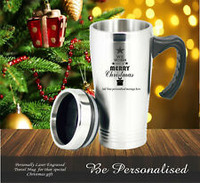 Personalised Christmas Gift Travel Mug Engraved Present Gift Teacher Mum Dad