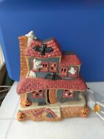 Vintage Ceramic Light Up Halloween Haunted House ghost bats and pumpkins