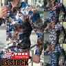 Mens Floral V Neck Long Sleeve Tee T-shirt Casual Slim Hawaii Shirts Tops Blouse