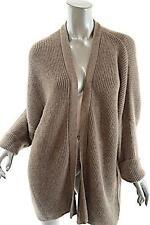 ESKANDAR Bark 100% Baby Alpaca Rib Cardigan Sweater - COZY - Hand Loomed - O/S