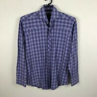 Bogosse Dress Shirt Sz 4 Purple Pink Plaid Button Front Long Sleeve Cotton Mens