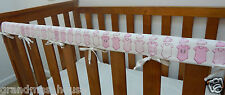 Baby Cot Crib Teething Rail Cover Pink Oneseys On White - Cotton ***REDUCED***