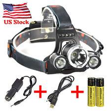 11000 Lumen LED Headlamp 3 LED XML T6 +2R5 Headlight Flashlight +  Car Charger