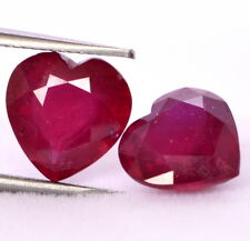 6.53 Cts Natural Ruby Heart Shape Cut Pair 9x9 mm Red Shade Loose Gemstones GF