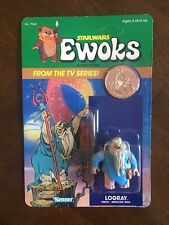 VINTAGE STAR WARS EWOKS CARTOON LOGRAY MEDICINE MAN FIGURE KENNER 1985 MOC CLEAR