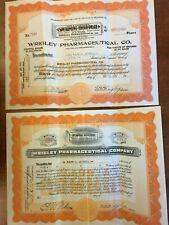 Wrigley Pharmaceutical Company Stock Certificates Signed by W. W. Wrigley