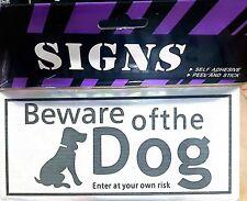 Beware of the Dog Silver Black Self Adhesive Signs UK Seller