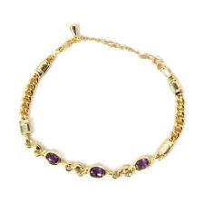 Simulated Amethyst & Gold Tine Bracelet (Size 7.5 - adjustable)