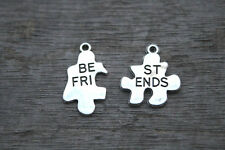 10sets best friends puzzle pieces charms in silver tone 26*21mm