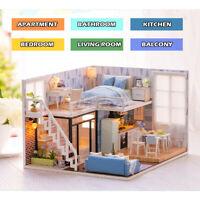Loft DIY Dollhouse Miniature Furniture Kit Wood Doll House Toy LED Lights