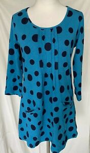 Adini 100% cotton rib jersey tunic 3/4 sleeves scoop neck 2 front pockets XS/S
