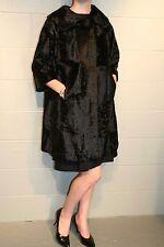 S~M Black FAUX Curly Lamb Fur Bracelet Vtg 50s SWING Stroller Outwear Dress Coat