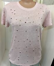 Iro Top Pink Short sleeves  Linen  Distressed Holes Design Clay Size Xs
