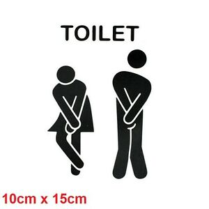 Toilet Sign Sticker Decal Bathroom Restroom Men Women WC Door Gender Funny Vinyl