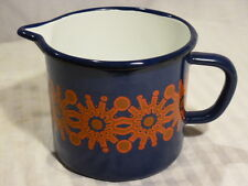 Cobal Blue  Enamelware Pitcher w/red & brown design, unmarked, 4 1/2 inches tall