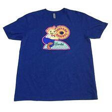 (L) LARD LAD World Famous Donuts THE SIMPSONS Blue T-Shirt Bart Homer Krispy Cop