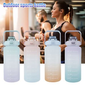 2L Water Bottle Motivational Drink Flask With Time Markings BPA Free Sports Gym