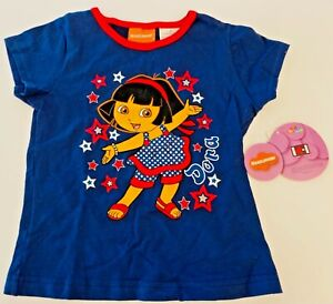 NWT SZ 5T GIRLS NICKELODEON'S DORA EXPLORER SHIRT SLEEVED STARS TOP/NEW!!!
