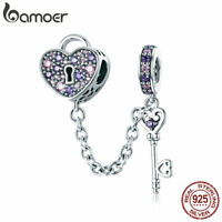 Bamoer S925 Sterling Silver charm The Key Of Heart With CZ Fit Bracelet Jewelry