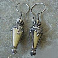 Boho Vintage 925 Sliver Cone Earrings Ear Hook Drop Dangle Women Party Jewelry